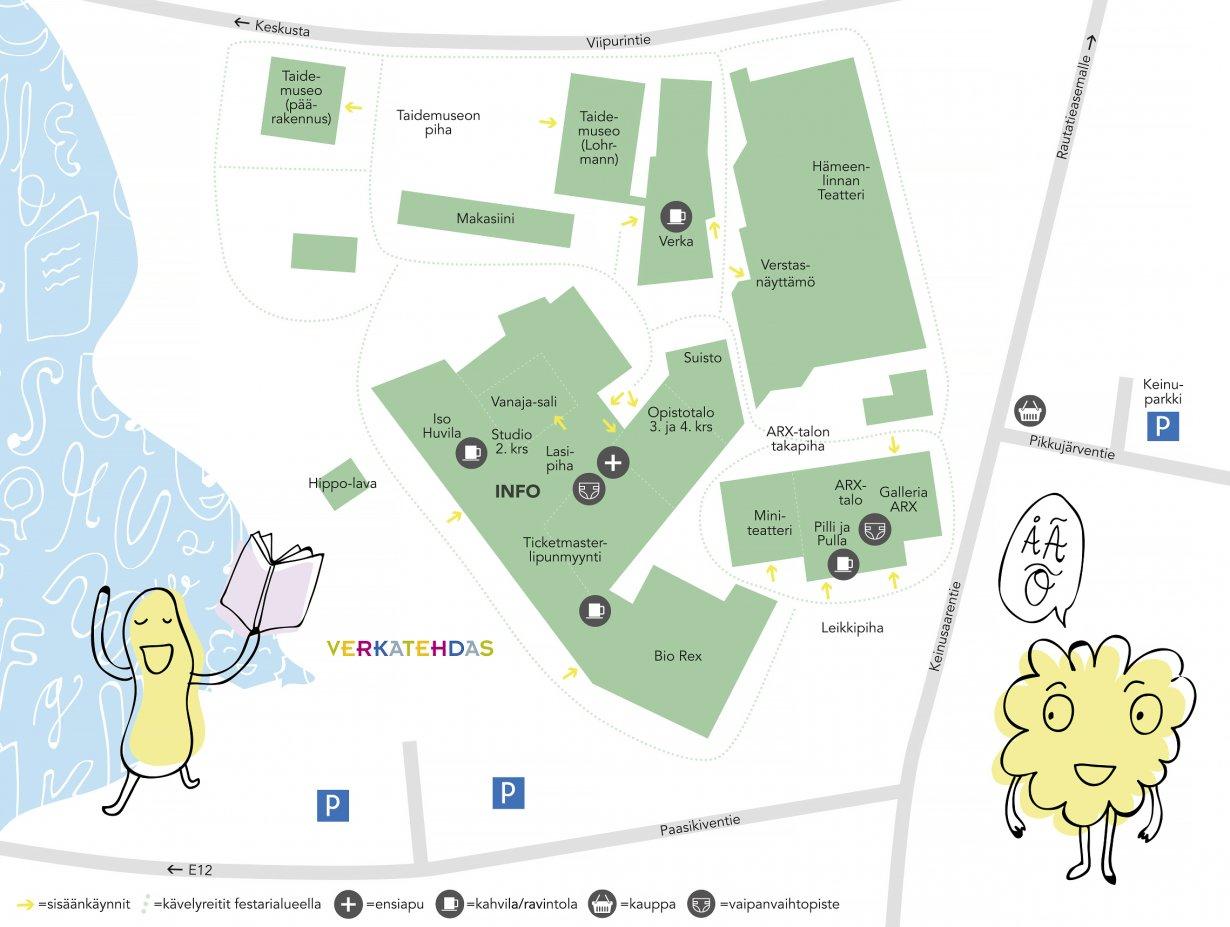 Hippalot 2019 aluekartta